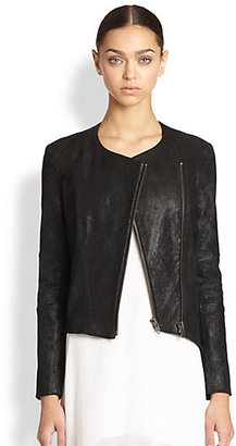 Helmut Lang Patina Asymmetrical Brushed Leather Jacket