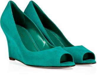 Sergio Rossi Turquoise Suede Peep-Toe Wedges