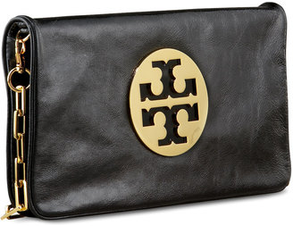 Tory Burch Reva Glazed Leather Clutch Bag, Black