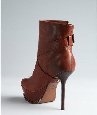 Rachel Zoe cognac leather fold detailed 'Michelle' platform ankle boots