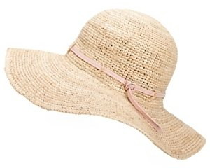 Hat Attack Sunhat With Leather Trim: Natural/blush