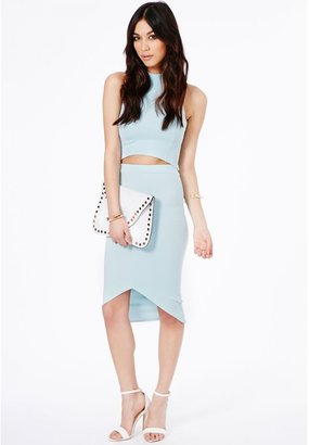 Missguided Lacey High Neck Ribbed Crop Top In Baby Blue