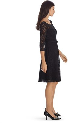White House Black Market 3/4 Sleeve Lace Belted Fit and Flare Black Dress