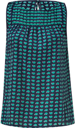 Marc by Marc Jacobs Ink Blue Heart Print Silk Top