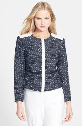 Rachel Roy Faux Leather Trim Tweed Jacket