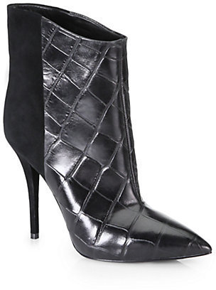 Brian Atwood Djuna Crocodile-Embossed Leather & Suede Ankle Boots