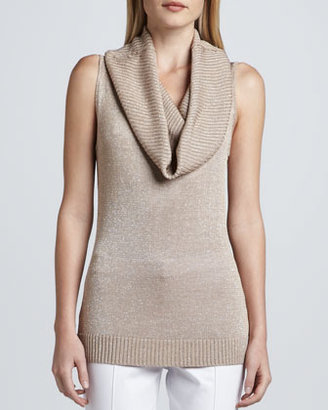 Neiman Marcus Sleeveless Metallic Knit Cowl-Neck Top