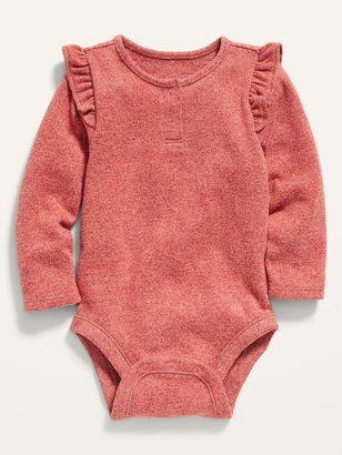 Old Navy Long-Sleeve Plush-Knit Ruffle-Trim Bodysuit for Baby