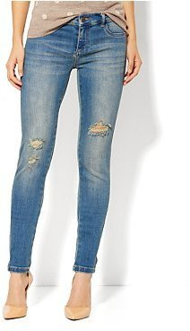 New York & Co. Destroyed Jean Legging - Neptune Blue Wash