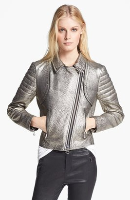 Faith Connexion Metallic Coated Leather Jacket
