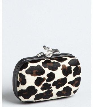 Diane von Furstenberg white leopard calf hair 'Lytton' small clutch