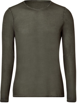 Majestic Dark Green Long Sleeve Silk T-Shirt