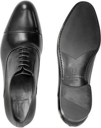 Moreschi Dublin Black Leather Cap-Toe Oxford Shoes