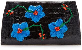 Nancy Gonzalez Preorder Flower Embroidered Crocodile Clutch