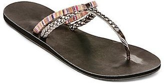 JCPenney Mixed Media T-Strap Flip Flops