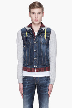 DSquared DSQUARED2 Blue denim and red plaid layered Jacket