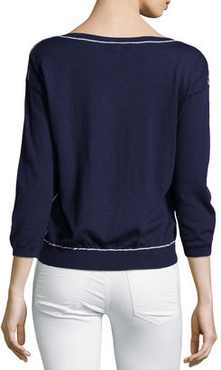 Joie Long-Sleeve Cashmere-Blend Pullover Sweater, Navy/Porcelain