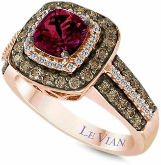 LeVian Le Vian Raspberry Rhodolite® Garnet (1 ct. t.w.) and White and Chocolate Diamonds (3/4 ct. t.w.) Square Statement Ring in 14k Rose Gold