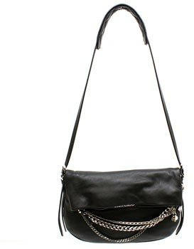 "Jimmy Choo Biker Small"" Black Lambskin with Chain Details"