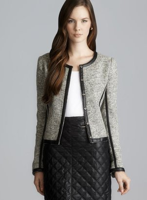 Romeo & Juliet Couture Tweed Faux Leather Trim Crop Jacket
