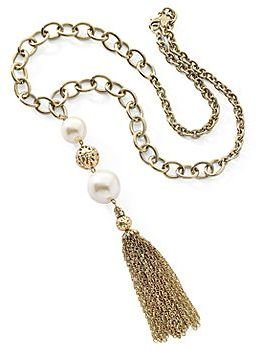 JCPenney Mixit Gold Pearl Tassel Necklace