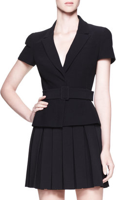 Alexander McQueen Belted Short-Sleeve Jacket, Black