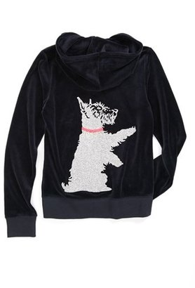 Juicy Couture 'Glitter Scottie' Velour Hoodie (Little Girls & Big Girls)