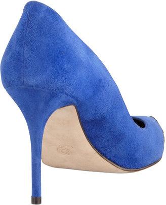 Alexander McQueen Pointed Metal-Toe Suede Pump, Royal Blue