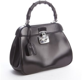 Gucci black leather bamboo handle satchel