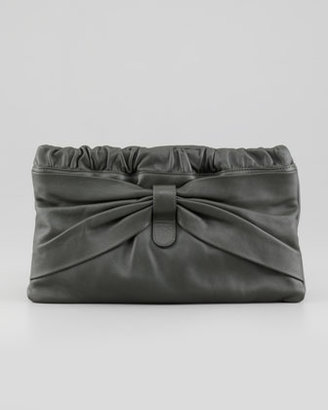 RED Valentino Valentino Red Leather Bow Clutch Bag, Forest