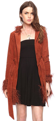 Forever 21 Shagged Trimmed Leather Coat