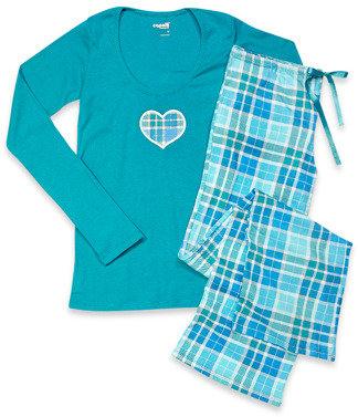 Bed Bath & Beyond Capelli® Plaid Turquoise 2-Piece Ladies Pajama Set