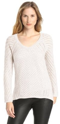 Design History Women's 100% Cashmere Cable V-Neck Tunic Sweater