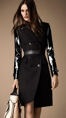 Burberry Patent Sleeve Wool Mohair Military Coat