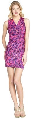 Julie Brown JB by pink and purple stretch cheetah print wrap dress