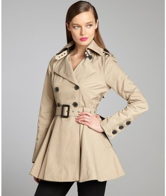 BCBGeneration khaki cotton blend faux-leather trim buckle belted trench coat