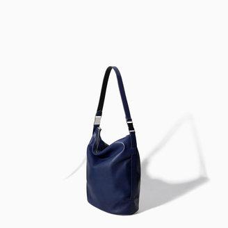 Zara Bucket Bag With Metallic Details
