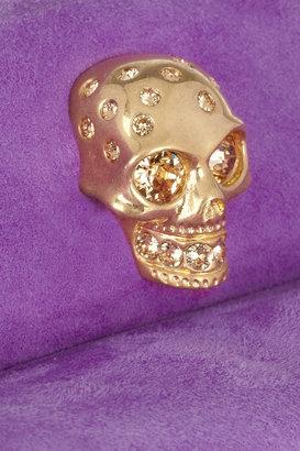 Alexander McQueen Skull-embellished suede clutch