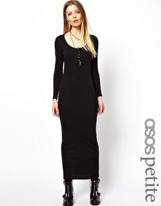 Asos Exclusive Button Through Long Sleeve Maxi Dress