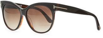 Tom Ford Saskia Acetate Cat-Eye Sunglasses, Black