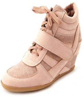 Charlotte Russe Sueded Hi-Top Wedge Sneaker