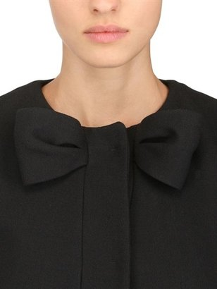 RED Valentino Bow Wool Blend Thick Crepe Coat
