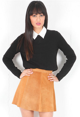 Singer22 Suede Skirt in Camel - by LOVE LEATHER
