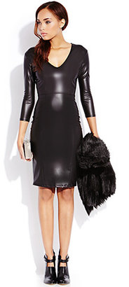 Forever 21 Sleek Faux Leather Midi Dress