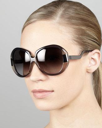 Diane von Furstenberg Round Enamel/Metal Sunglasses, Gray