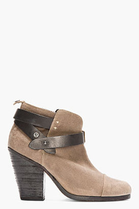 Rag and Bone RAG & BONE Taupe Waxed Suede Belted HArrow boots