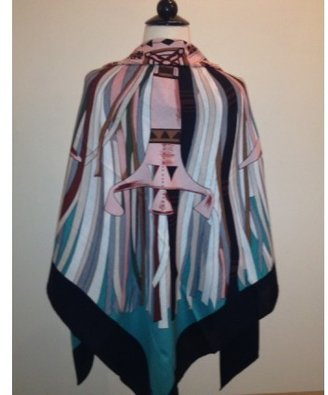 Hermes pristine (PR Black & Pink GM Cashmere Cuirs du Desert II Shawl