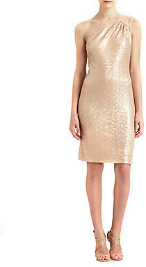 Laundry by Shelli Segal Sequined One-Shoulder Dress