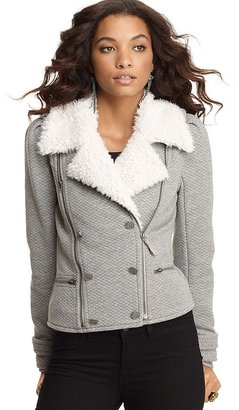 Juicy Couture Double-Breasted Tweed Motorcycle Jacket