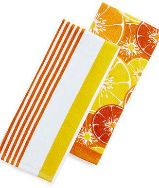 Martha Stewart Collection Set of 2 Fiber Reactive Terry Oranges Kitchen Towels